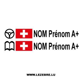 2x Swiss flag steering wheel pilot/co-pilot custom decals