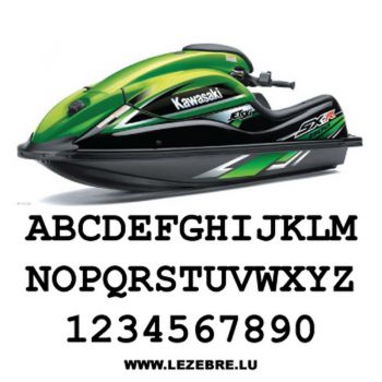 Kit de 2 stickers Immatriculation Jet Ski à Personnaliser Courier