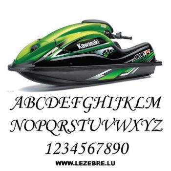 Set of 2 jet ski registration stickers to customize Monotype