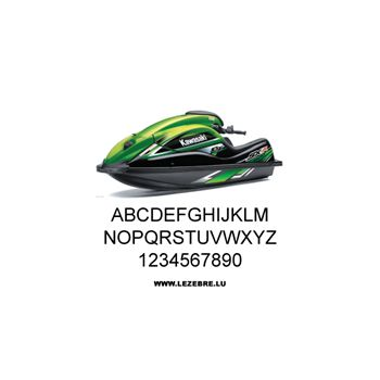 Set of 2 jet ski registration stickers to customize arial