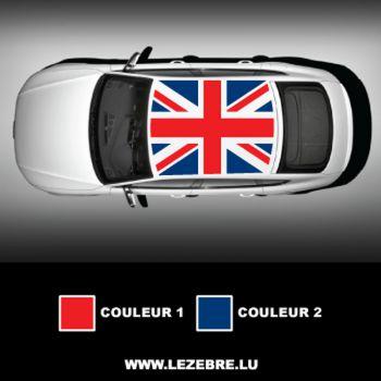 Sticker toit auto Union Jack couleur à personnaliser