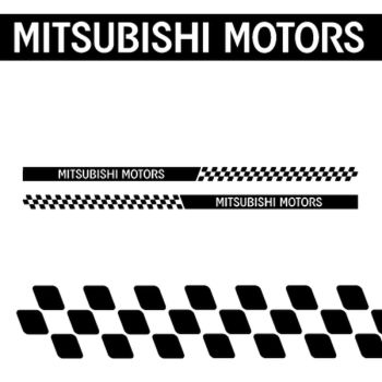 Mitsubishi Motors side checkerboard stripes decals set