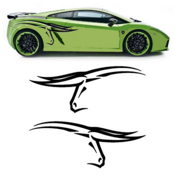 Lamborghini Bull's head car side stickers set