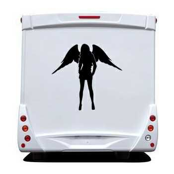 Sticker Camping Car Ange Femme Sexy