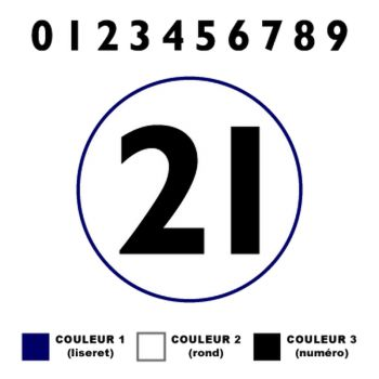 Custom Race Numbers with Edging Decals (Set of 2 Stickers)