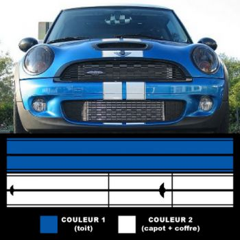 Mini II (2001 - 2006) racing stripes stickers set