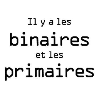 Geek Il y a les binaires et les primaires T-shirt