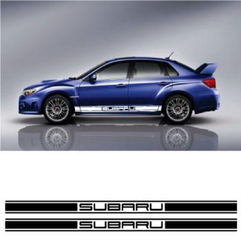 Kit Stickers Auto Bandes Bas de Caisse Subaru Racing