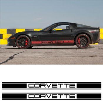 Kit Stickers Auto Bandes Bas de Caisse Corvette Racing