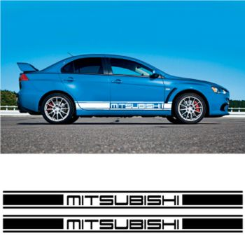 Kit Stickers Auto Bandes Bas de Caisse Mitsubishi Racing