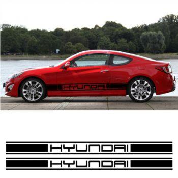 Kit Stickers Auto Bandes Bas de Caisse Hyundai Racing