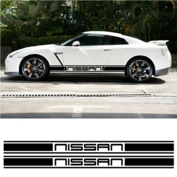Kit Stickers Auto Bandes Bas de Caisse Nissan Racing