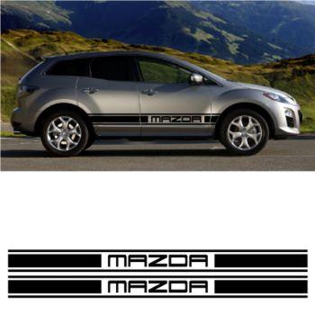 Kit Stickers Auto Bandes Bas de Caisse Mazda Racing