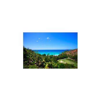 Sticker Deko Plage Tropicale et Terrain de golf à Seychelles