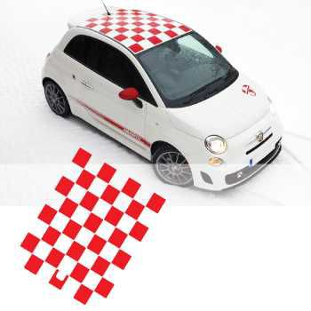 Kit Stickers Toit Auto Damiers Fiat 500 Abarth
