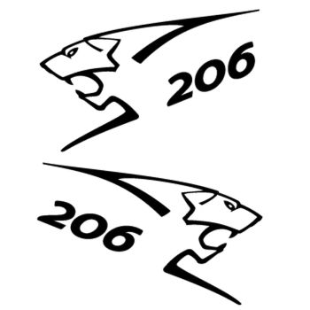 Kit stickers (2 x) Peugeot 206 Lion Sport