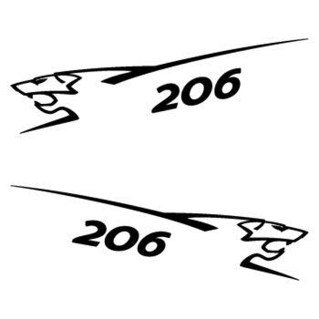 Kit stickers (2 x) Peugeot 206 Lion