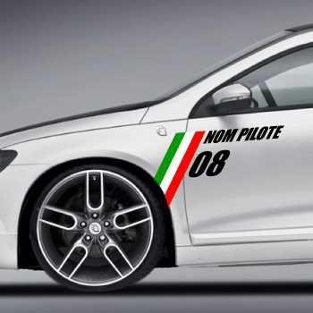 Kit 2 Stickers Drapeau Italien Nom Pilote + Numéro Course à Personnaliser