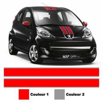 Kit Stickers Bandes Peugeot 107 GT Line