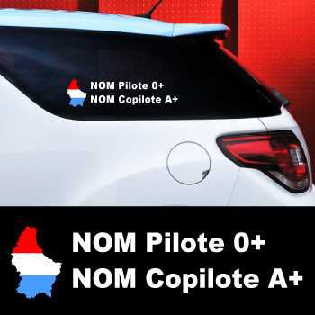 Set of 2 car Pilote and Co-pilot Luxembourg Decals