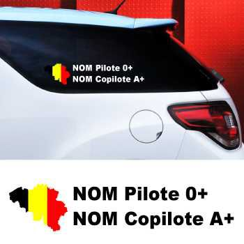 Set of 2 car Pilote and Co-pilot Belgium Decals