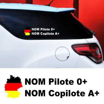 Set of 2 car Pilote and Co-pilot Germany Decals