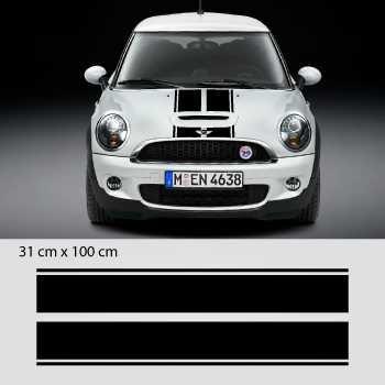 Kit Stickers Bande doppeltes Motorhaube Mini (One, Cooper S, John Cooper Works, Roadster, Cabrio)