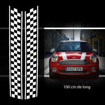 Kit Stickers Bandes Decoration Damiers Capot Mini (One, Cooper S, Works, Roadster, Cabrio)