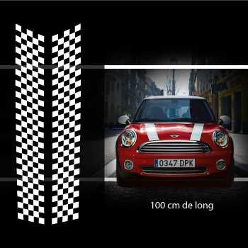 Kit Stickers Bandes Decoration Damiers Capot Mini (One, Cooper S, Works, Roadster, Cabrio) 3