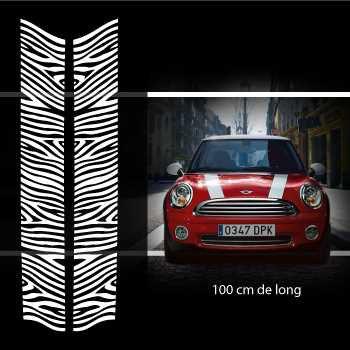 Kit Stickers Bandes Décoration Capot Mini Zèbre (One, Cooper S, Works, Roadster, Cabrio)