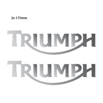 Kit de 2 Stickers Chrome Réservoir Moto Triumph Logo