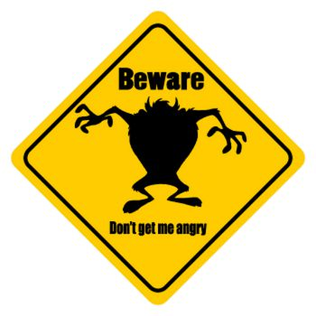 Sticker Taz - Beware Don't Get Me Angry