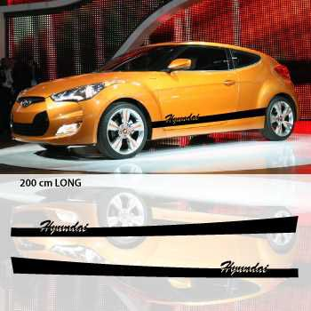 Hyundai car side stripes decals set