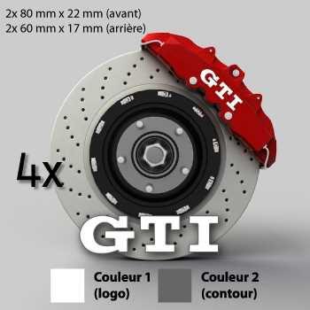 VW Volkswagen Golf GTI Logo shape brake decals set