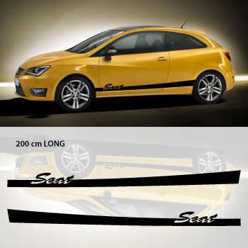 Seat car side stripes decals set