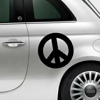 Sticker Fiat 500 Peace and Love Logo 2