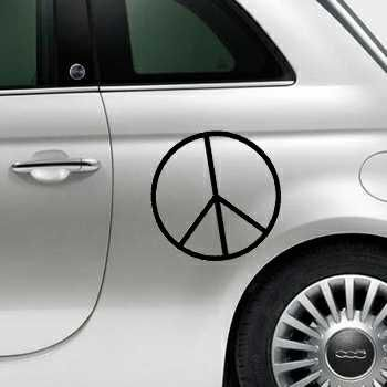 Sticker Fiat 500 Peace and Love Logo 3