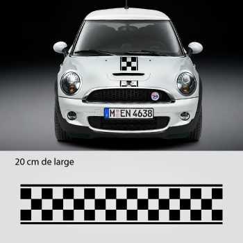 Kit Stickers Bande Würfelmuster Motorhaube Mini 3 (Motorhaube, Toit, Kofferraum)