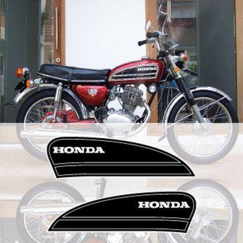 Honda CB125 gas tank decals set (year 1975) in black