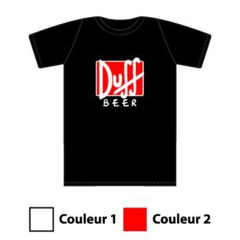 Tee-shirt Bière Logo Duff Beer en 2 Couleurs au Choix