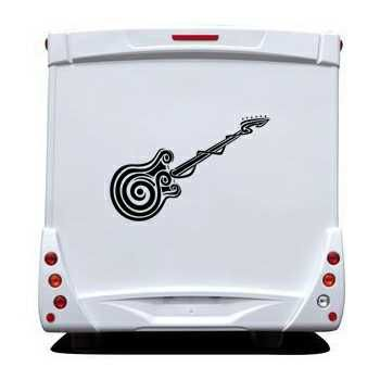 Sticker Camping Car Guitare Silhouette Tribal