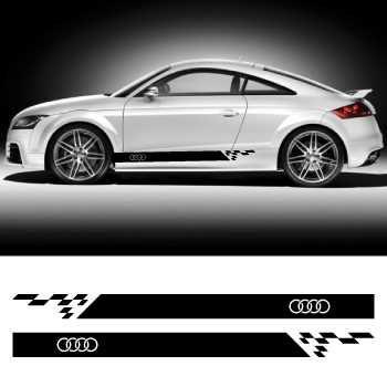 Car side Audi logo stripes stickers set - 175 cm long