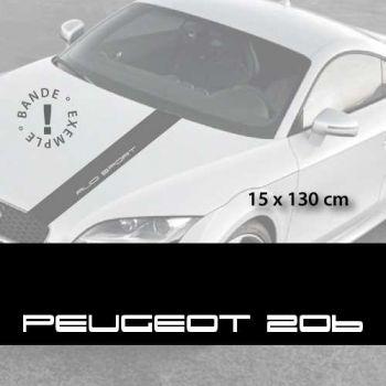 Stickers bandes autocollantes Capot Peugeot 206