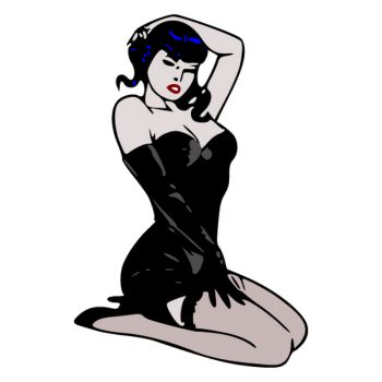 Sticker Rétro Pin-Up Sexy Robe Noire