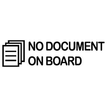 Sticker NO DOCUMENT ON BOARD