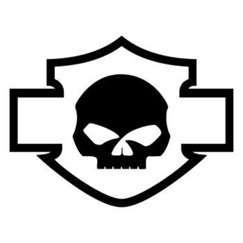 Harley Davidson logo silhouette skull decal
