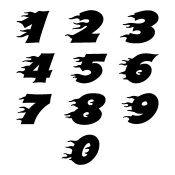 Set of 2 Flame numbers custom decals