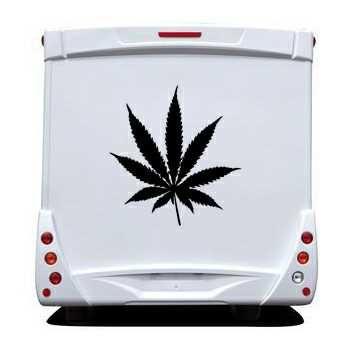 Sticker Camping Car Feuille de Cannabis