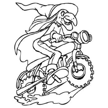 Sticker Sorcière à Moto