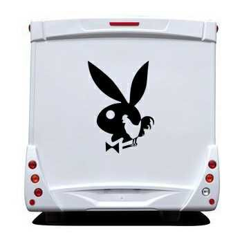 Sticker Camping Car Playboy Bunny Coq Français